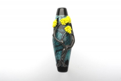 Golden Wattle Blossom - Swirling Blues Lampwork Tree - 270 Degree