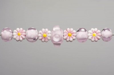 Pink Bubble Eye and Flowers Beadset
